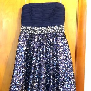 Navy Strapless Sequin Poofy Dress My Michelle 7